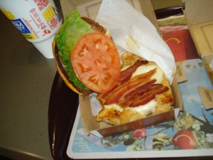 Pictured here is the Grilled Chicken Bacon Clubhouse.