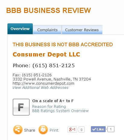 "Consumer Depot has earned an ""F"" rating at the Better Business Bureau. Why should you buy from them? I don't have a clue."
