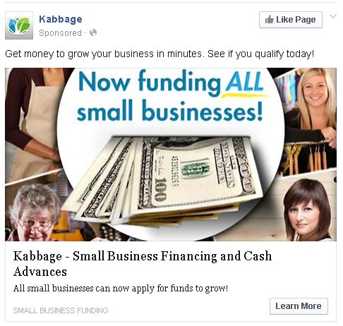 Kabbage does not fund ALL small businesses. Mine was turned down. Maybe 'All Types' but not 'all small businesses.