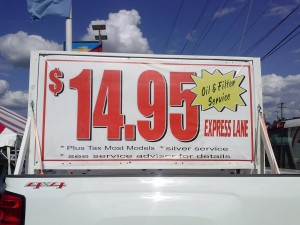 $14.95 Oil Change - Is it really a fast lane? Or is it even available?